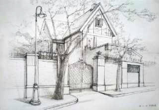 江南手绘建筑简笔