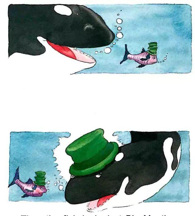 """然后,小鱼看向大嘴巴鲸鱼. """"哈,哈,哈!"""" 小鱼也笑了起来."""