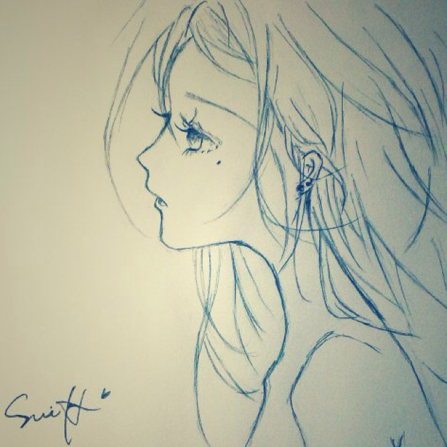白浅简笔素描铅笔画
